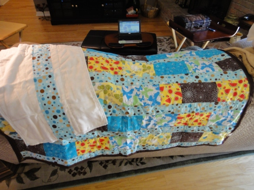 Hand made quilt and Burp Cloth from Foxy